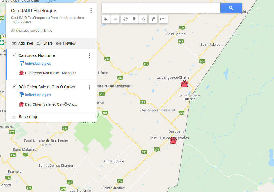 Carte de localisation des événements du Cani-RAID FouBraque